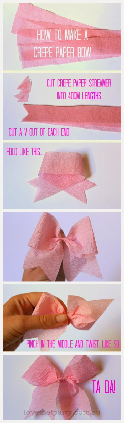 How to make a paper bow using those cheap paper streamers!  www.lovethatparty.com.au