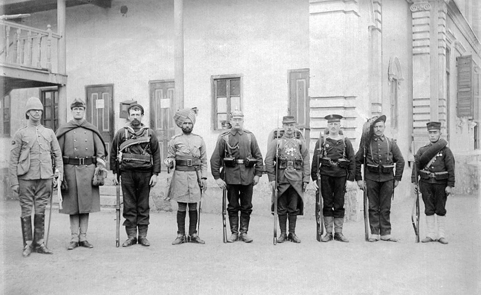 A photo of soldiers from the Eight-Nation Alliance, Beijing, 1900.