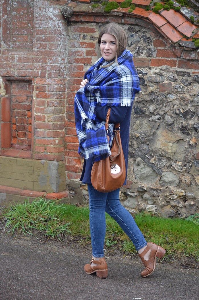 zara check scarf bloggers