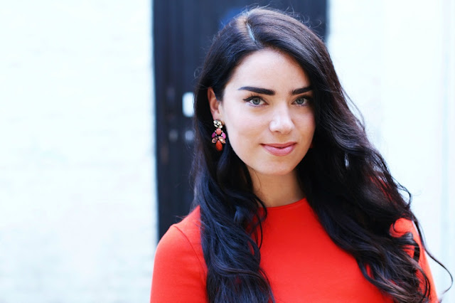 Orange dress and earrings - London fashion blogger Emma Louise Layla
