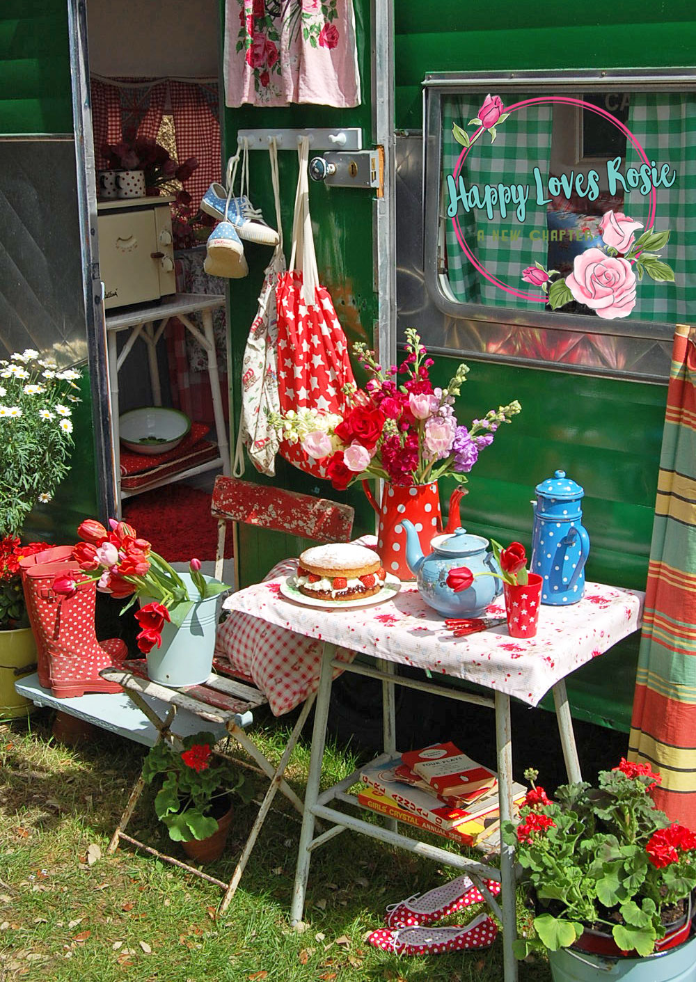 happy loves rosie's vintage green caravan
