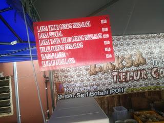 Senarai harga Laksa Telur Goreng Bersarang di Bandar Seri Botani Ipoh Perak