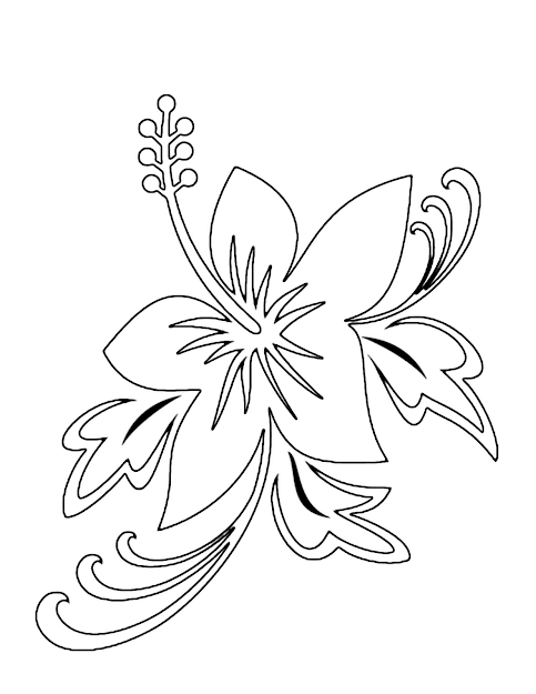 Flowers Coloring Book Pages  Tropical Flower Coloring Pages