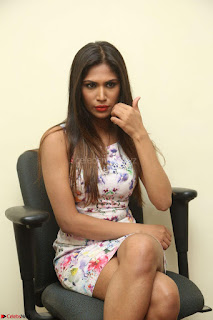 Nishi Ganda stunning cute in Flower Print short dress at Tick Tack Movie Press Meet March 2017 139.JPG