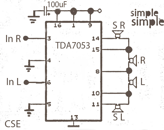 Simple Surround audio amplifier circuit based on the IC TDA7053