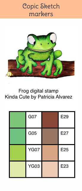 Copic color combination for a frog