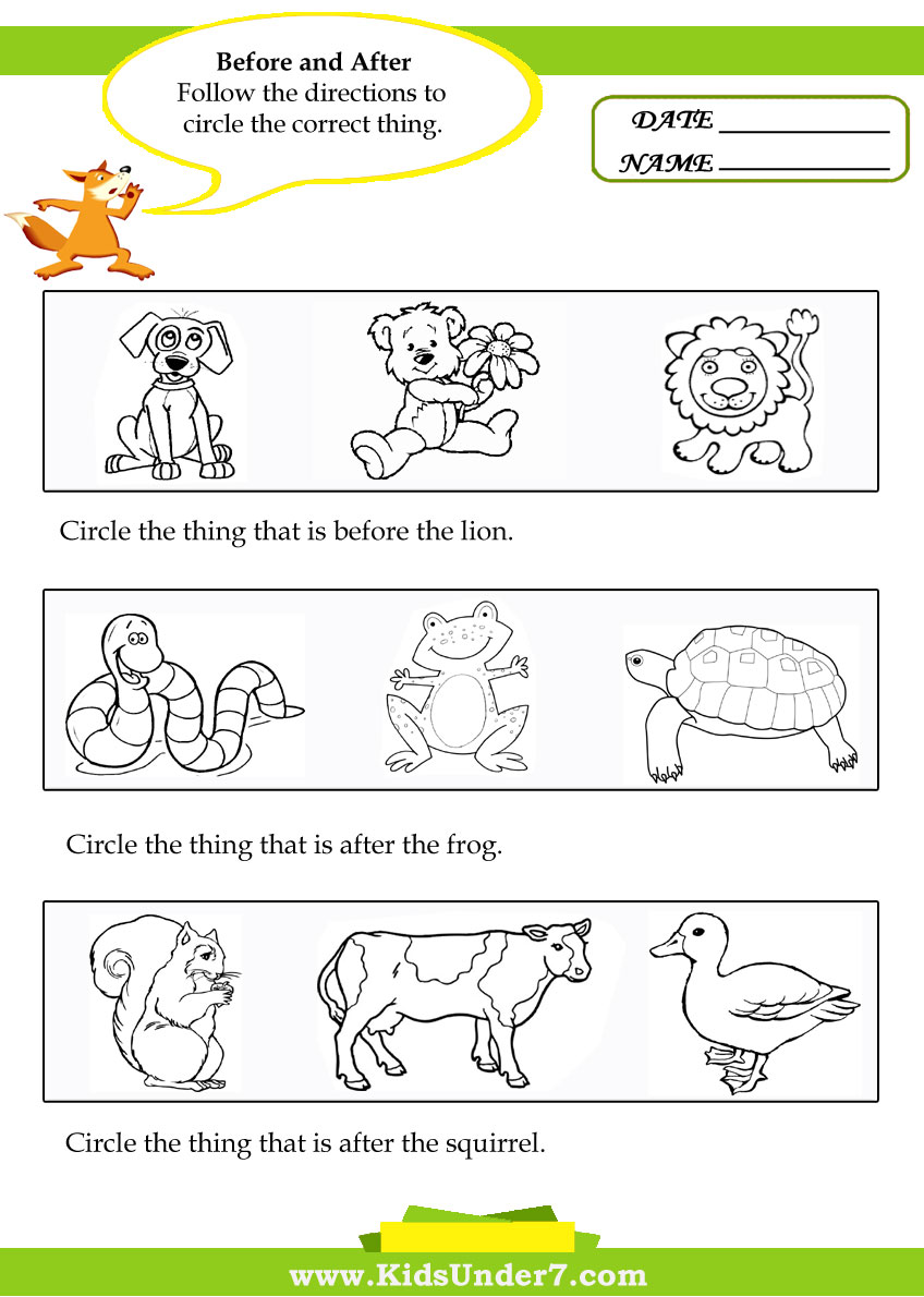 Kids Under 7: Before and After Worksheets
