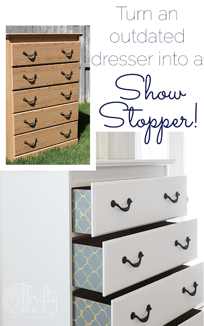 How to paint a dresser, and add a little cute pattern on the drawers! #decoartprojects #madewithmichaels