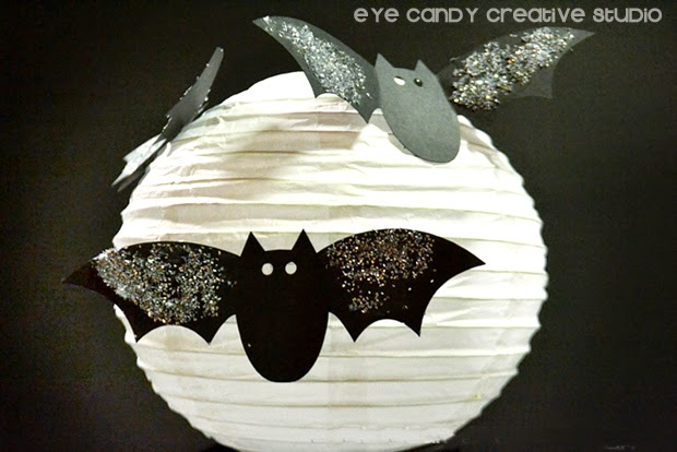 supplies for spooky halloween lanterns, paper lanterns, card stock, glue