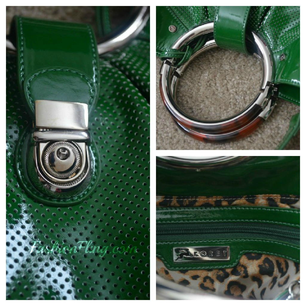 The Koret Logo Detachable Round Mirror And A Push Lock Tab Closure Perforated Green Patent Exterior Leopard Print Interior Is Wildly