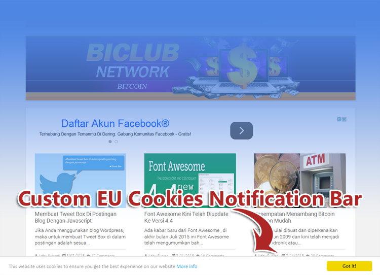 Memasang Custom EU Cookies Notification Bar