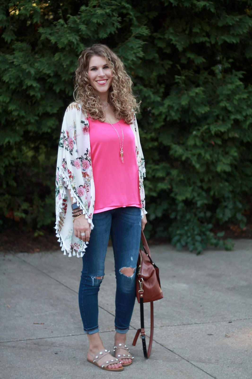 pink cami, white floral kimono, distressed jeans, crystal studded sandals, Kate Spade cognac cross body bag