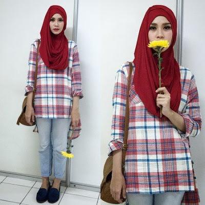 style kemeja flanel wanita hijab remaja terbaru