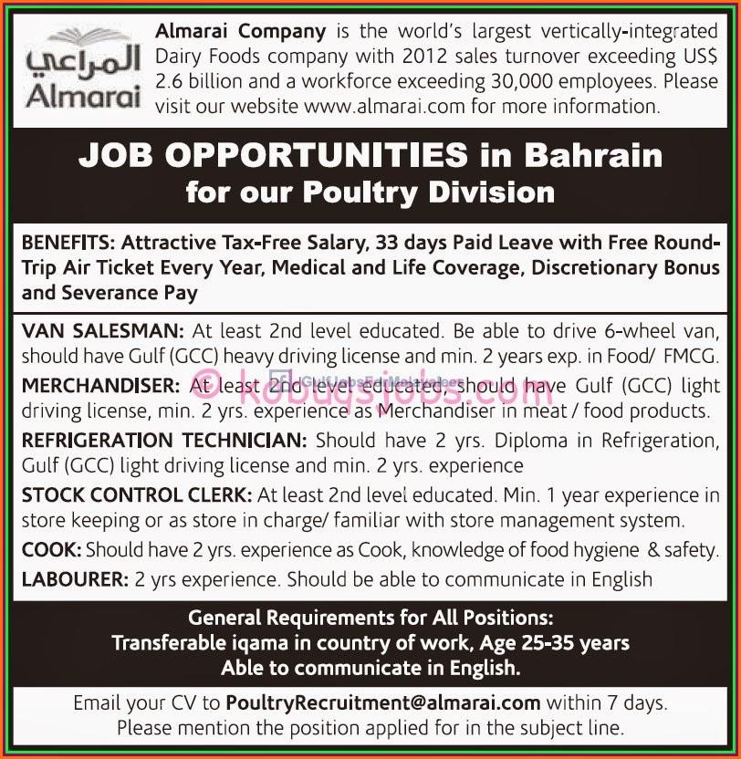 Almarai Job Opportunities In Bahrain Gulf Jobs For