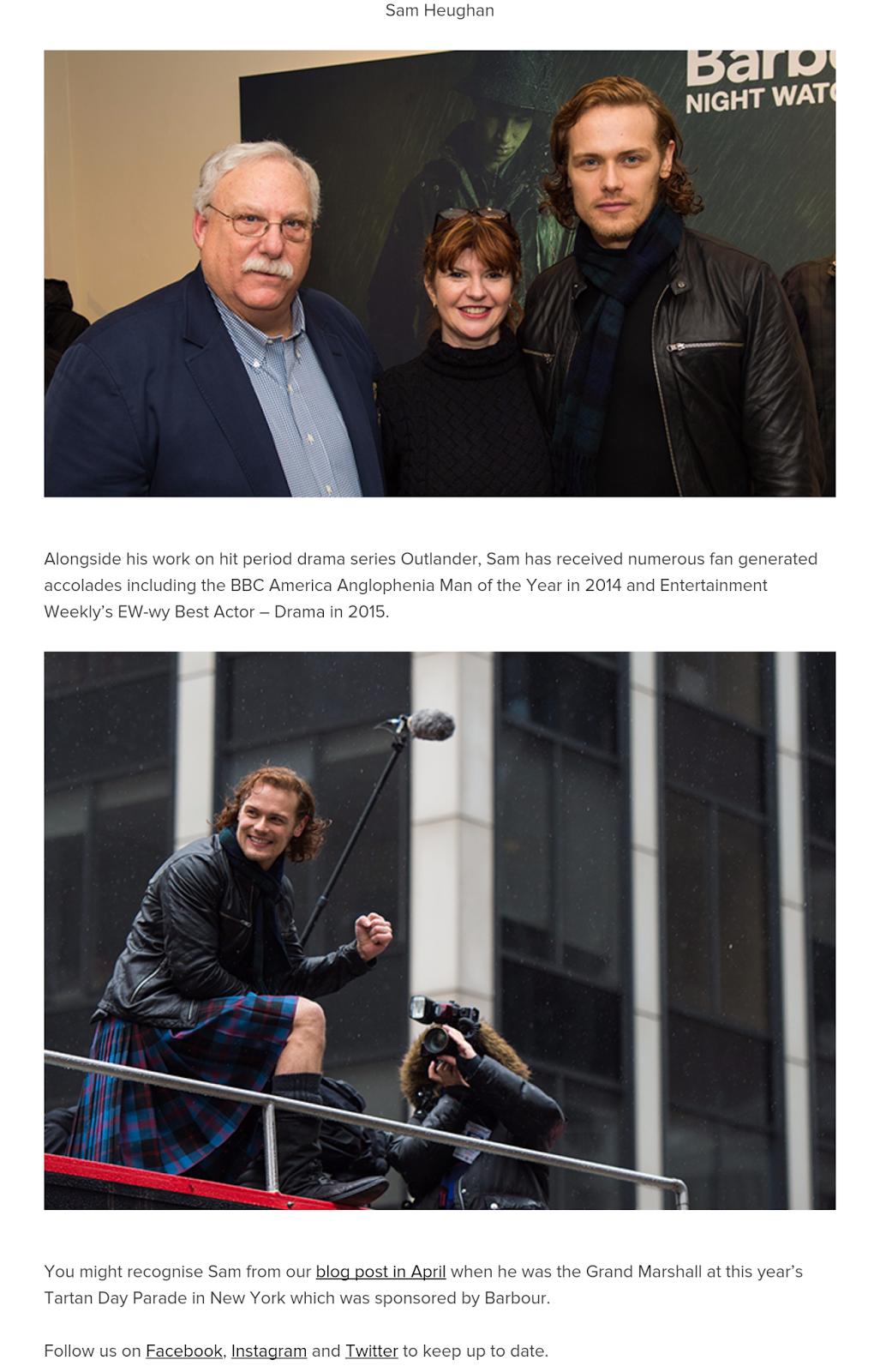 Outlander Homepage: Barbour's First Global Brand Ambassador