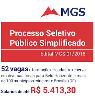 Edital MGS 2018: processo seletivo Minas Gerais Administração e Serviços