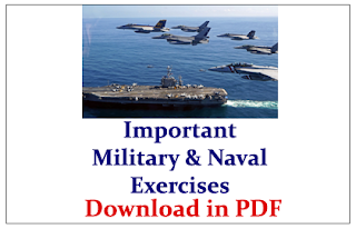List of Important Military& Naval Exercises Conducted Recently Between India& Various Countries- Download in PDF