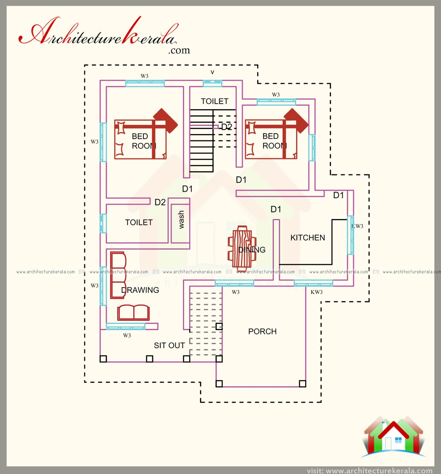 1500 square feet house plan with beautiful combine style for 1500 sq ft house plans kerala