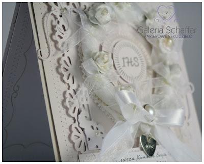 dziukacz ozdobny MArtha Stewart falbanka koronka koronkowy wzór mini serduszko metalowe