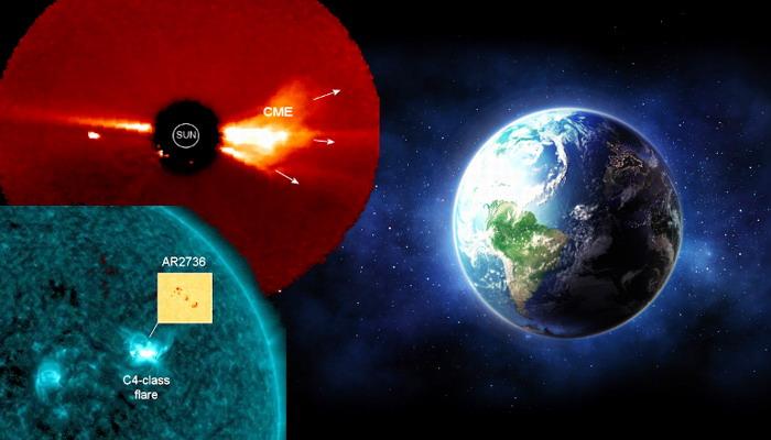 Una gran mancha solar a crecido en el Sol, provocando que una potente tormenta solar se dirija a la Tierra
