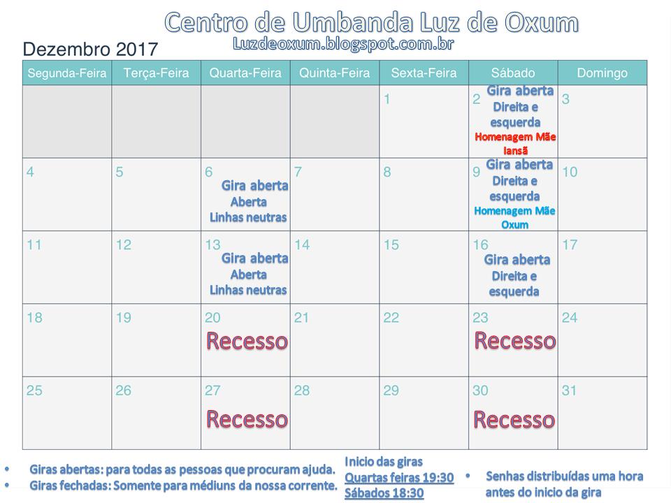 Centro De Umbanda Luz De Oxum Calendário Dezembro 2017