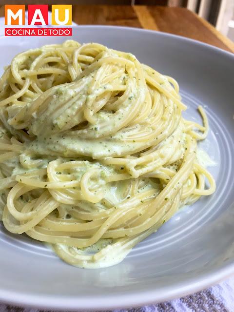 fetucinne verde espagueti poblano receta facil rapido