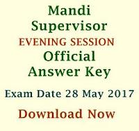 Official Answer Keys - Mandi Supervisor Exam 28May17 EVENING