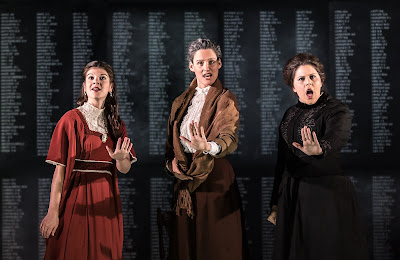 Owen Wingrave -  British Youth Opera at the Peacock Theatre. Katie Coventry (Kate Julian), Charlotte Schoeters (Mrs Julian), Carrie-Ann Williams (Miss Wingrave). Photo: Clive Barda/ArenaPAL