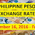 PHILIPPINE PESO EXCHANGE RATES: December 16, 2016 - Friday