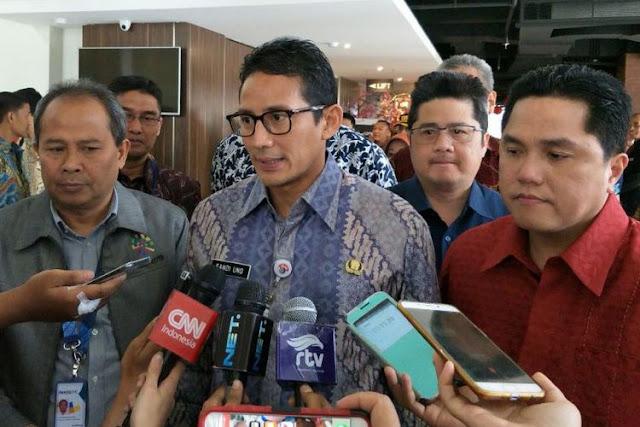 Wakil Gubernur DKI Jakarta Sandiaga Uno bersama Ketua Panitia Penyelenggara Asian Games 2018 INASGOC Erick Thohir