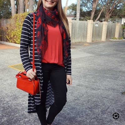 awayfromtheblue instagram | plain red tee with black print mixing skull scarf and stripe outfit