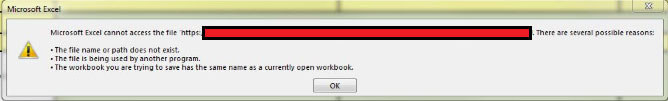 Microsoft Excel cannot access the file