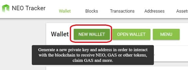 Monedero wallet Neo Tracker guardar monedas GAS (NeoGAS)