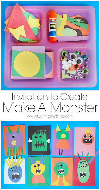 Invitation to Create: Make A Monster. Open ended, creative, quick and easy kids paper Halloween craft. Great for color and shape recognition. Perfect for toddlers, preschoolers, kindergarten, and elementary.