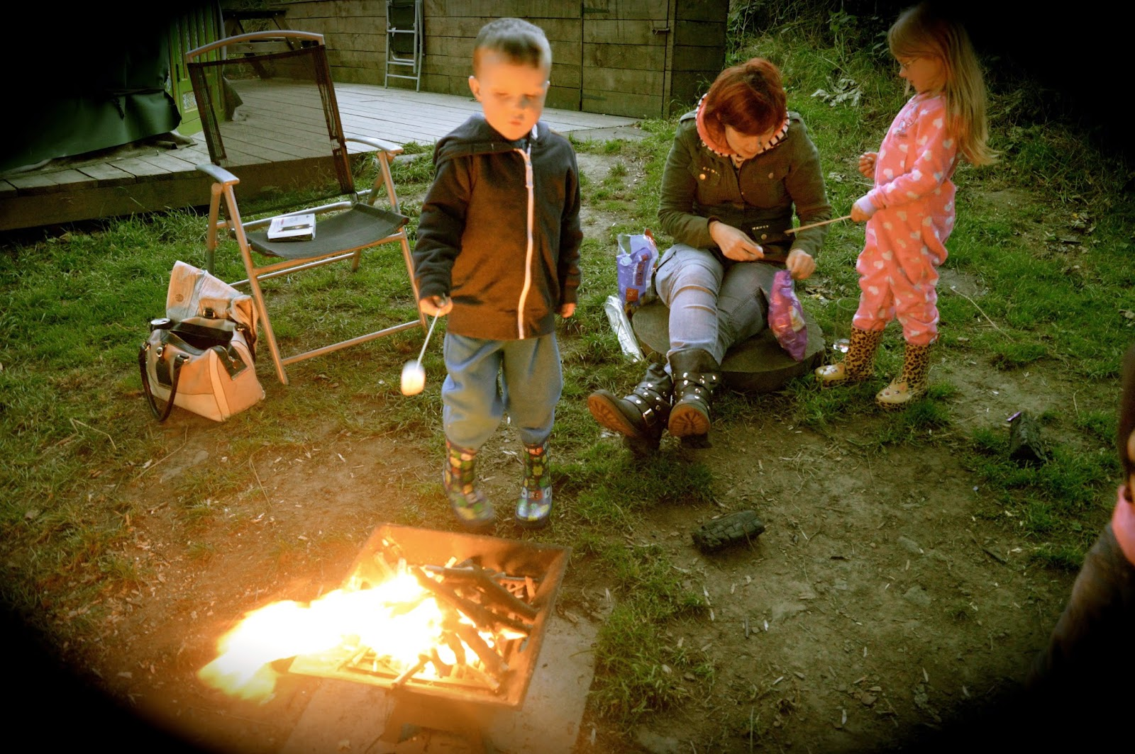 Westwood Yurts | Glamping at National Trust Gibside, County Durham - A Review - toasting marshmallows on campfire