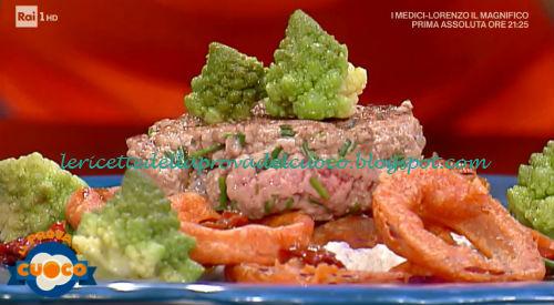 Hamburger su spuma di burrata e acciughe con broccolo ricetta Emilio Signori da Prova del Cuoco