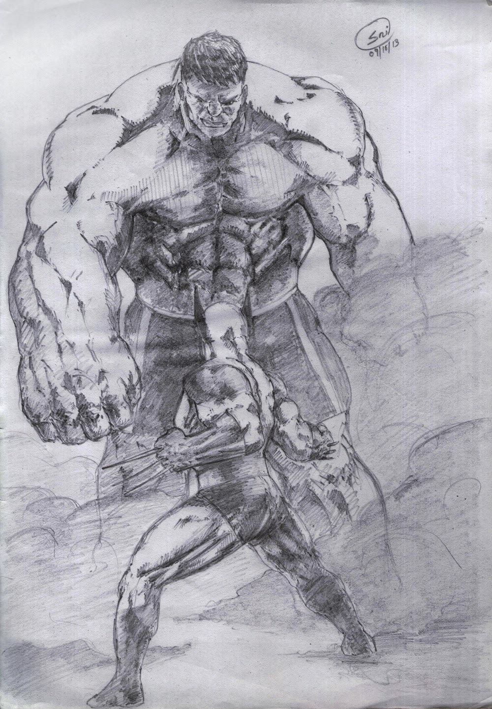 Famous sketch art of hulk vs wolverine a2ztuts