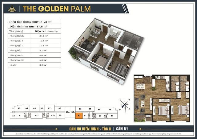 Mặt bằng căn B1 87,6m2 The Golden Palm