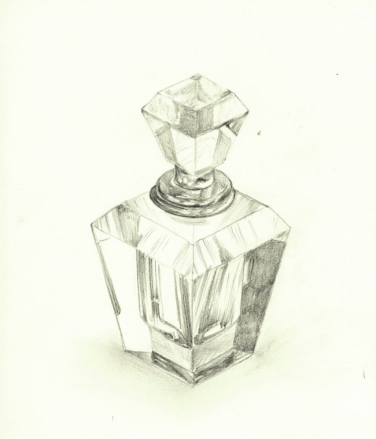 Glass Perfume Bottle. Pencil on paper