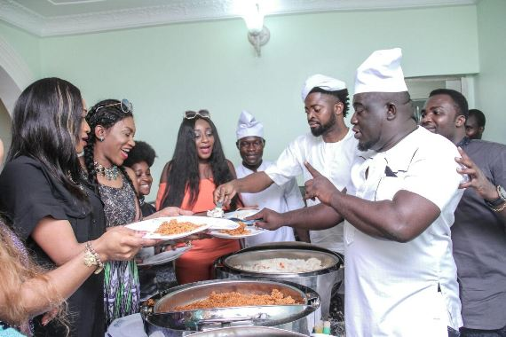 Basketmouth & Soso Soberekon serve food at party in Warri (photos)
