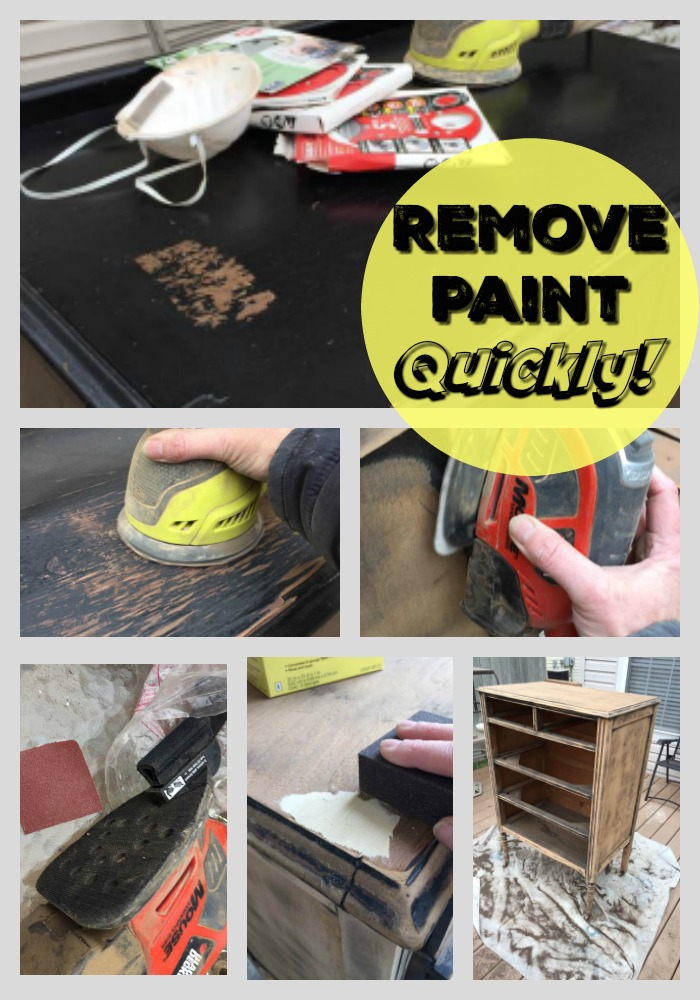 Remove paint quickly with an orbital sander. I used a mouse sander on the smaller areas.