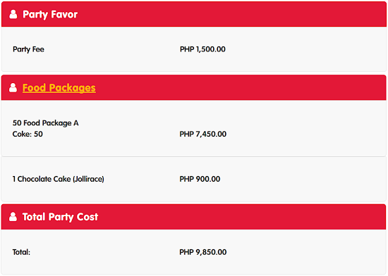 Jollibee Party Package A for 50 persons