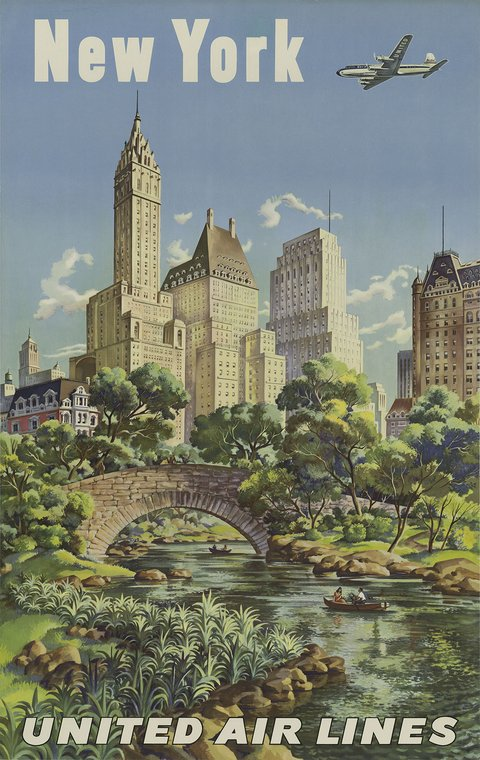 new york united airlines vintage travel poster free vintage posters. Black Bedroom Furniture Sets. Home Design Ideas