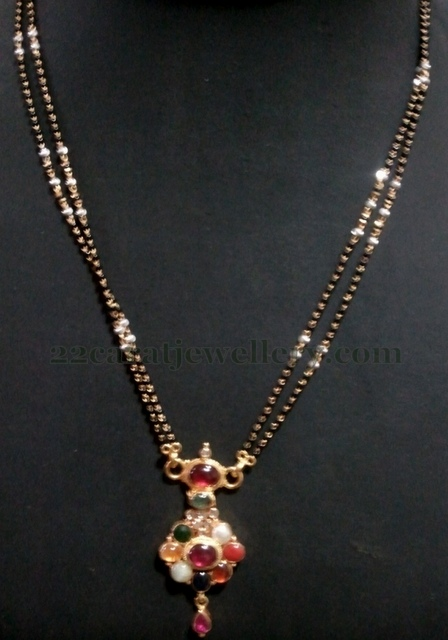 Navaratan Locket Attached Mangalsutra Jewellery Designs