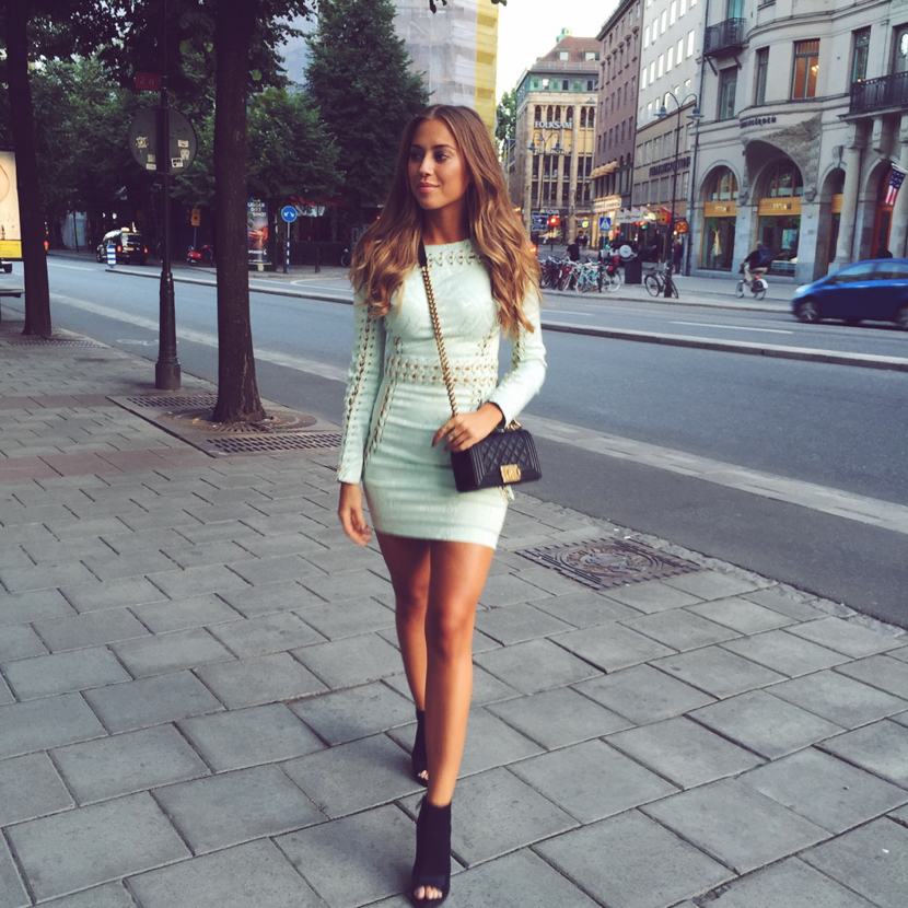 Kenya Zouiten Instagram Street Style - House of CB Dress, Chanel Boy bag