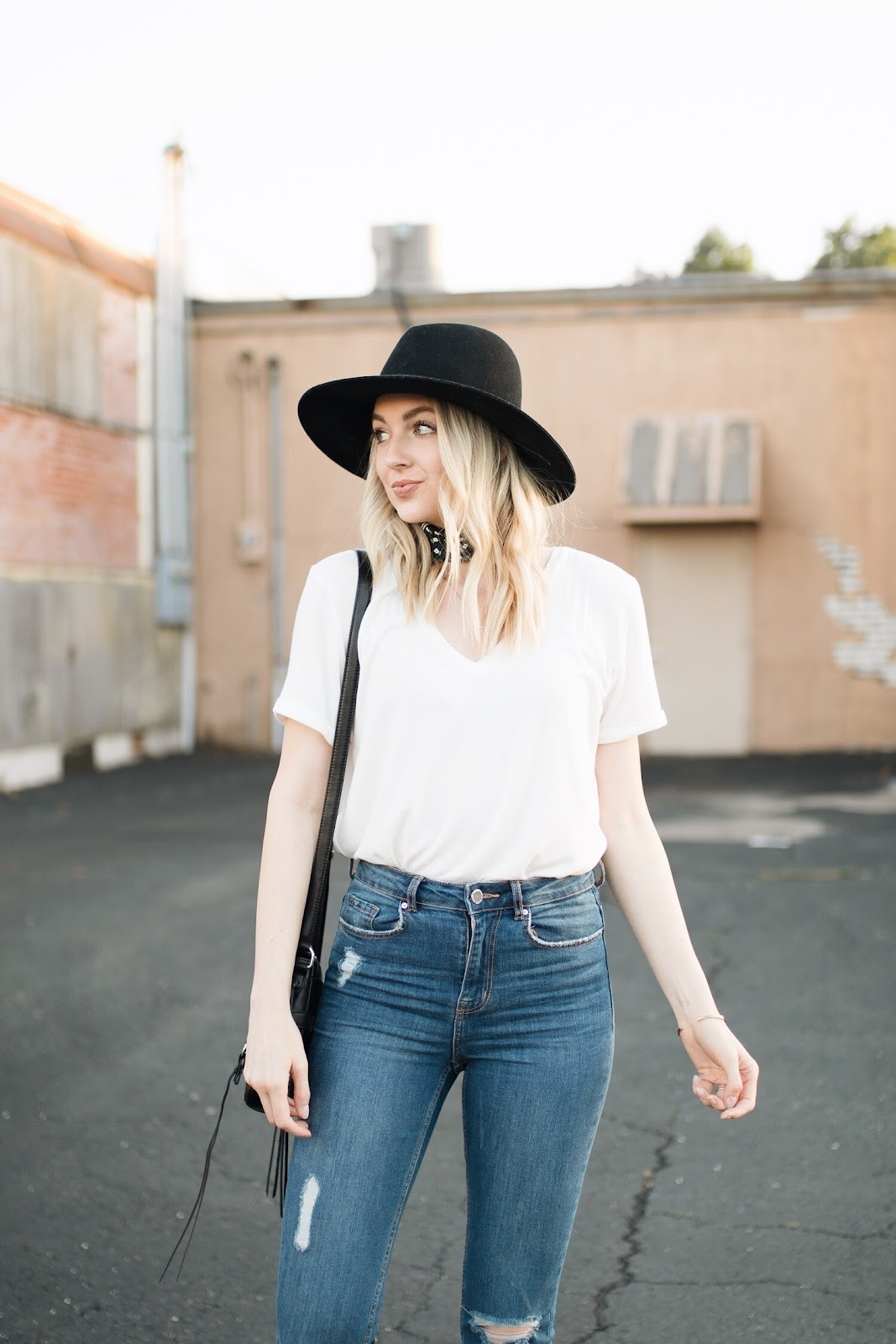 how to style a basic white v-neck tee