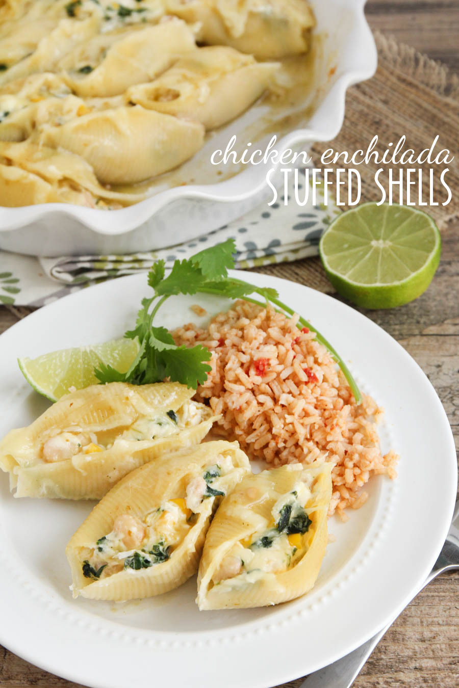 These chicken enchilada stuffed shells are a delicious new twist on an old favorite! So savory and delicious!