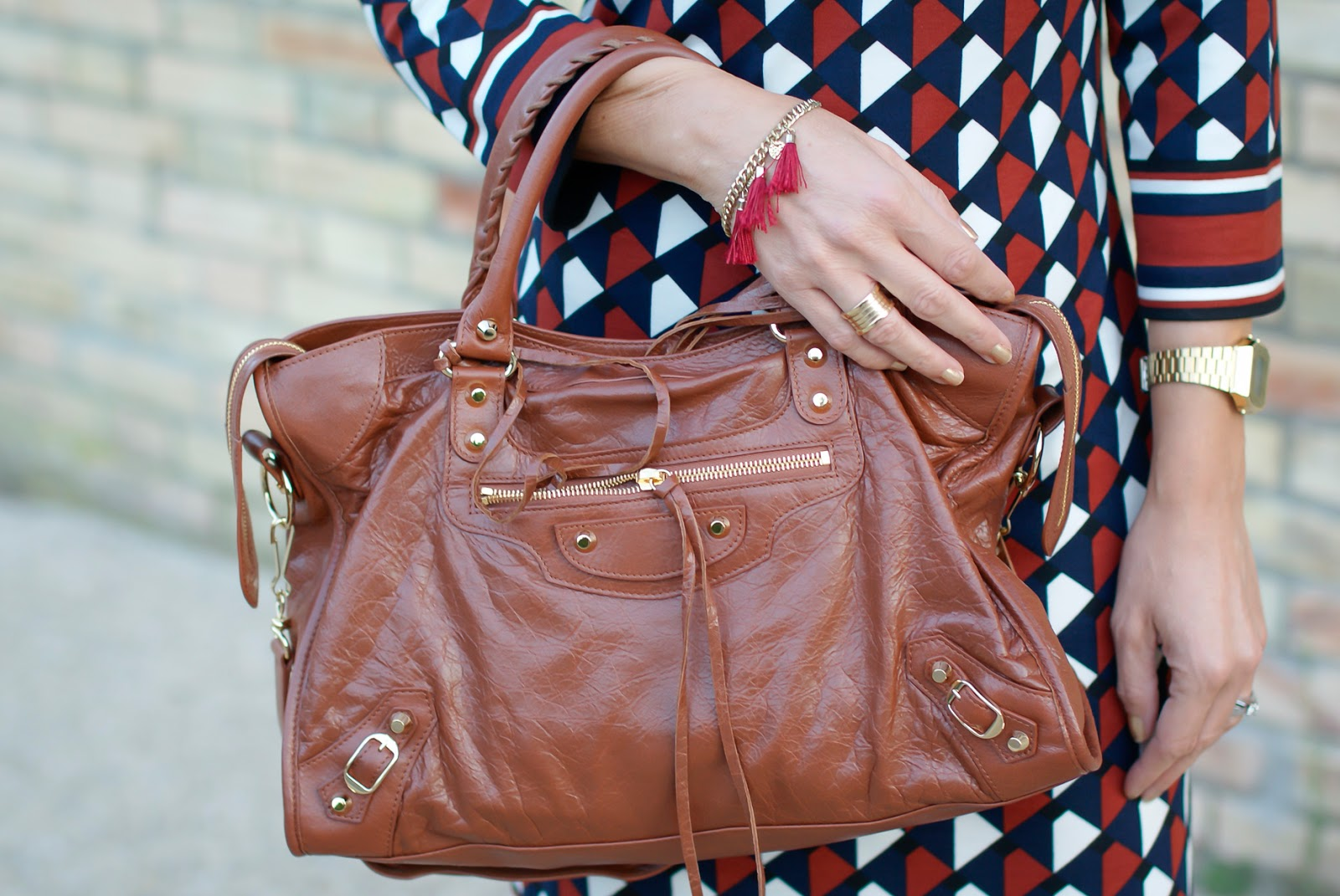 Balenciaga City cognac bag on Fashion and Cookies fashion blog, fashion blogger style