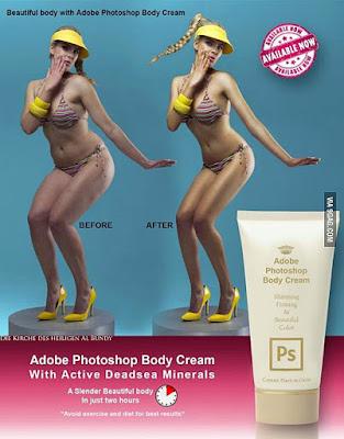 Photoshop Vergleichsbild - Frau in Bikini Vorher Nachher lustig