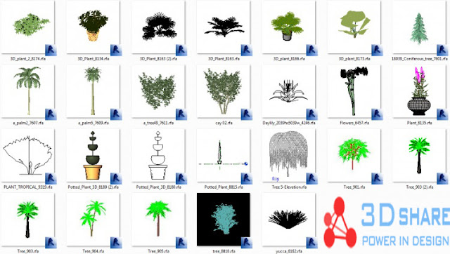 [Revit][Interior design] plants and flowers full download types, used in interior decoration works
